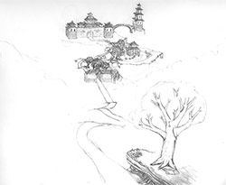 Chinese castle on a hill